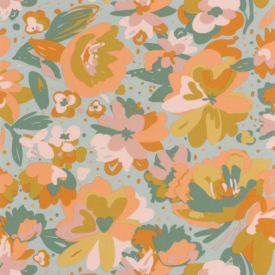 Шпалери Caselio Flower Power FLP101877023 квіти малюнок оранжево-зелений