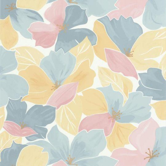 Шпалери Caselio Flower Power FLP101886042 цвітіння синьо-жовте