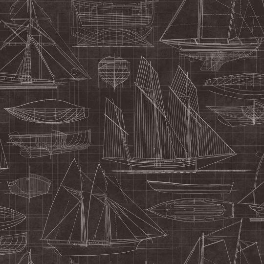Шпалери Galerie Deauville 2 G23323 креслення парусника чорний