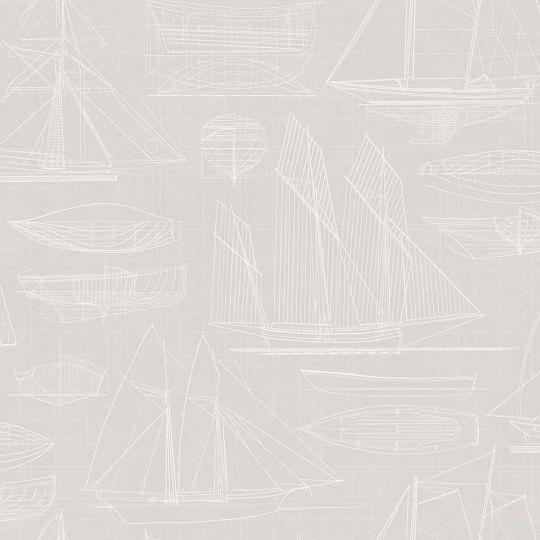 Обои Galerie Deauville 2 G23324 чертеж парусника светло-серый