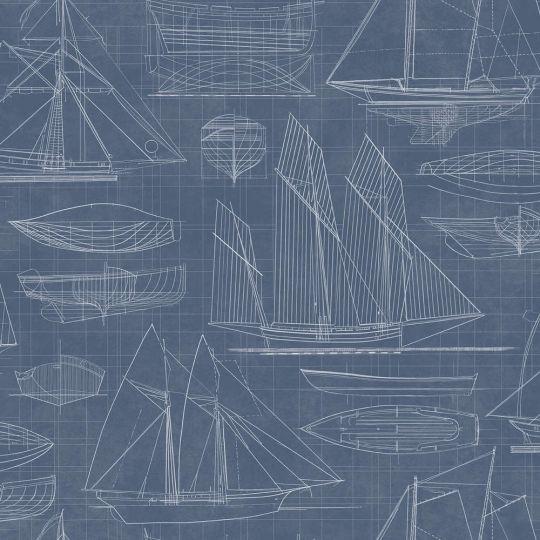 Обои Galerie Deauville 2 G23325 чертеж парусника синий