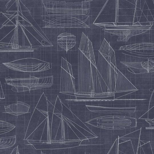 Обои Galerie Deauville 2 G23326 чертеж парусника темно-синий