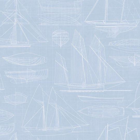 Обои Galerie Deauville 2 G23327 чертеж парусника голубой