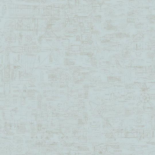 Шпалери Galerie Steampunk G56207 креслення блакитні