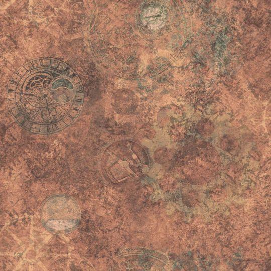 Шпалери Galerie Steampunk G56223 годинники червоні