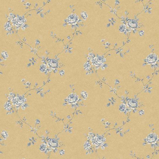 Шпалери Galerie Palazzo G67634 трояндочки сині на золотому