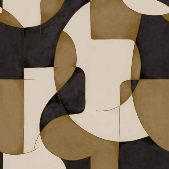Шпалери Casadeco Gallery GLRY86092410 оптичний арт коричнево-чорно-білий