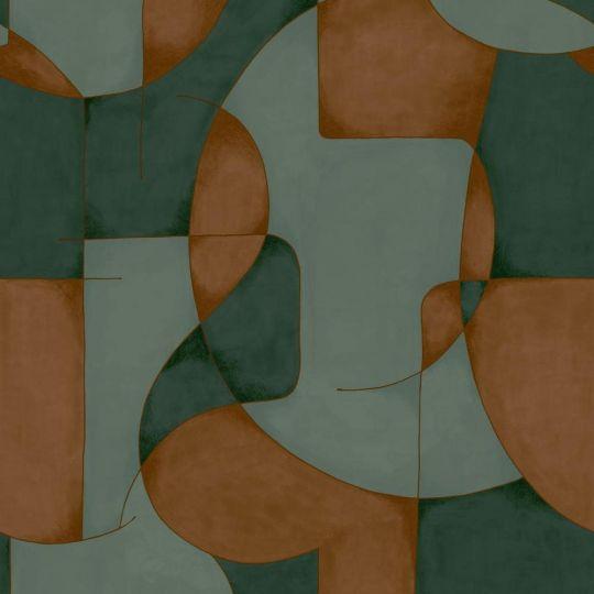 Шпалери Casadeco Gallery GLRY86097503 оптичний арт зелено-цегляний