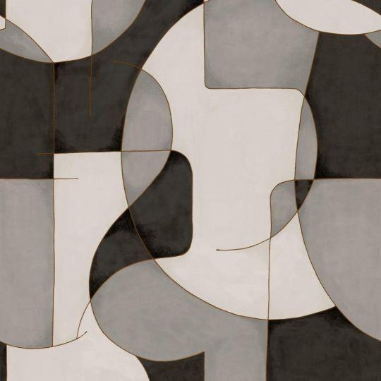 Шпалери Casadeco Gallery GLRY86099109 оптичний арт сіро-чорний