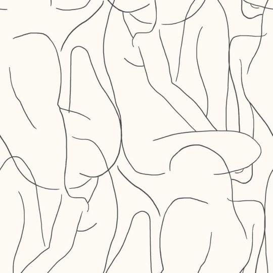 Шпалери Casadeco Gallery GLRY86100522 контур тіла чорно-білий