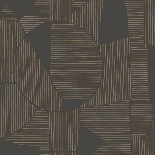 Шпалери Casadeco Gallery GLRY86129413 абстрактна графіка коричнево-чорна