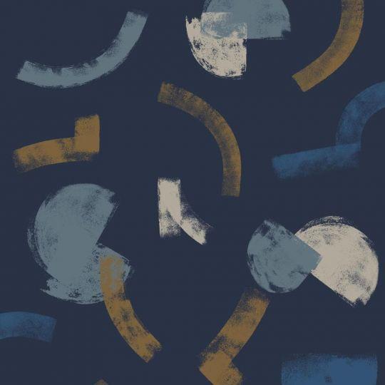 Шпалери Casadeco Gallery GLRY86136617 мазки на джинсовому синьому