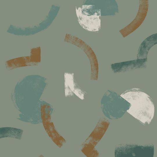 Шпалери Casadeco Gallery GLRY86137423 мазки на темно-фісташкове