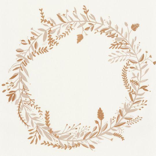 Шпалери Caselio Green Life GNL101681020 віночки сіро-золоті на білому