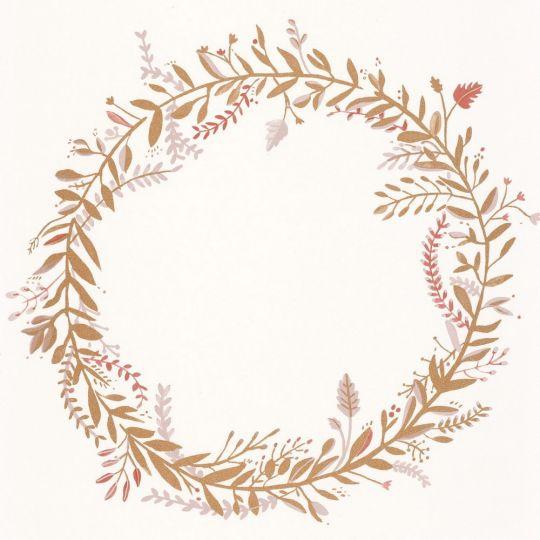 Шпалери Caselio Green Life GNL101684026 віночки золото-рожеві на білому