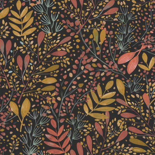 Шпалери Caselio Green Life GNL101694129 гілочки і травички червоно-жовті на чорному