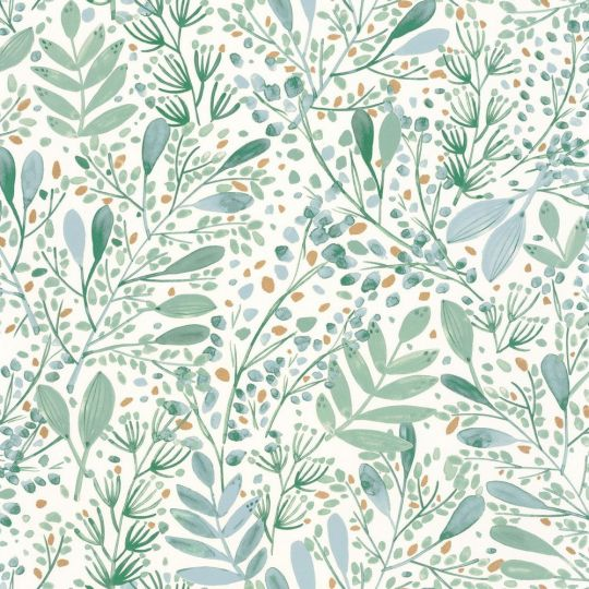 Шпалери Caselio Green Life GNL101697620 гілочки і травички зелені на білому