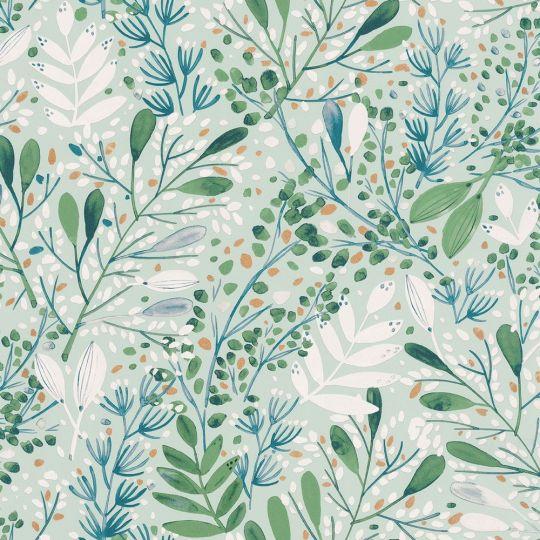 Шпалери Caselio Green Life GNL101697672 гілочки і травички зелено-сині на блакитному