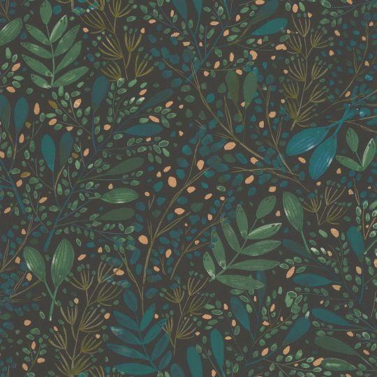 Шпалери Caselio Green Life GNL101697692 гілочки і травички зелені на чорному