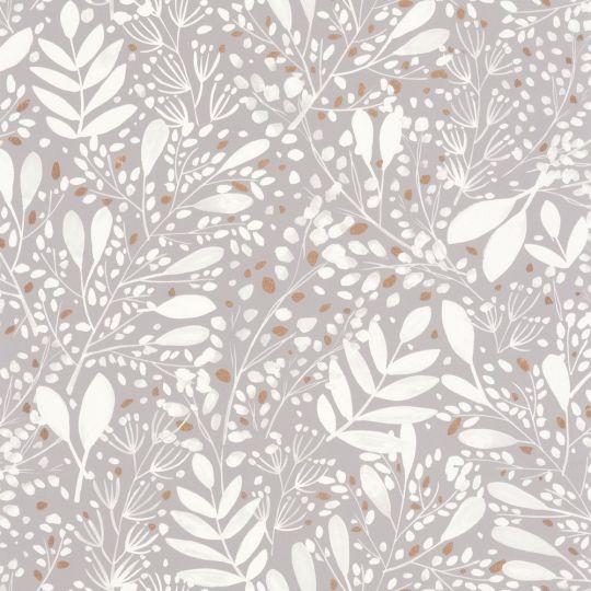 Шпалери Caselio Green Life GNL101699002 гілочки і травички білі на сірому