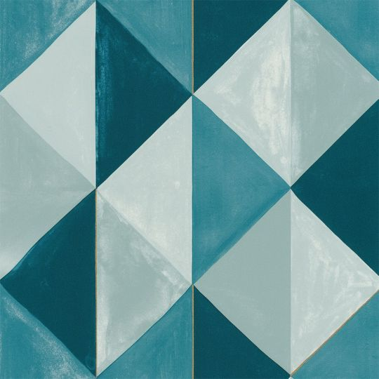 Шпалери Caselio Green Life GNL101706027 сині-блакитні трикутники