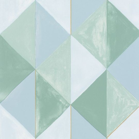 Шпалери Caselio Green Life GNL101707024 салатово-блакитні трикутники