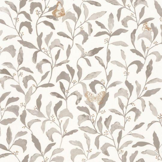 Шпалери Caselio Green Life GNL101711027 листя з метеликами біло-сіре
