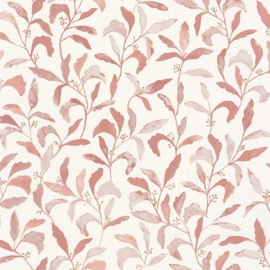 Шпалери Caselio Green Life GNL101714020 листя з метеликами блідо-червоне на білому