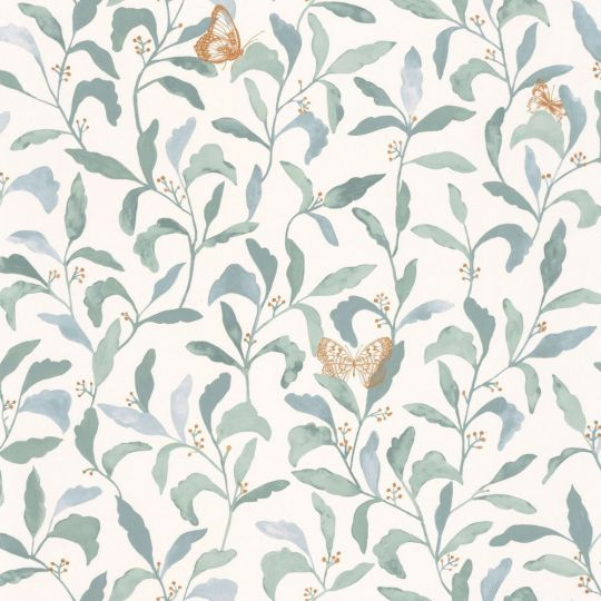 Шпалери Caselio Green Life GNL101716023 листя з метеликами зелене на білому