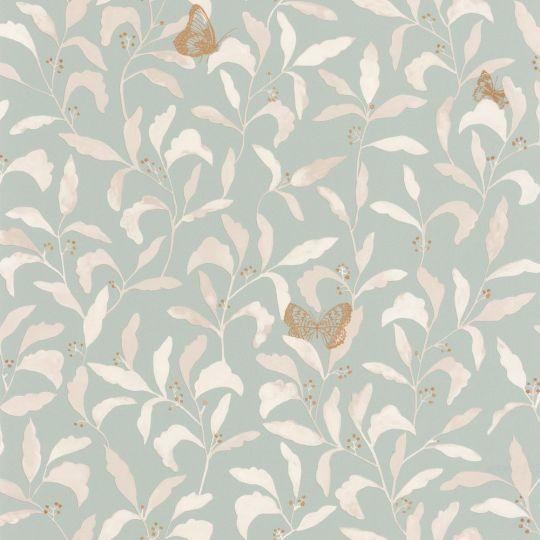 Шпалери Caselio Green Life GNL101717026 листя з метеликами на блакитному тлі