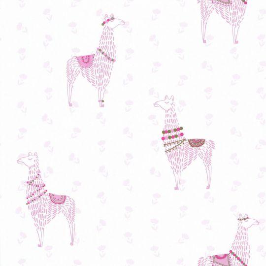 Обои Caselio Girl Power GPR100754110 розовые ламы на белом фоне