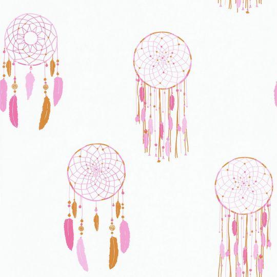Обои Caselio Girl Power GPR100784219 ловец снов розовый на белом