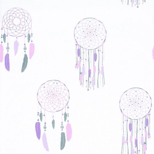 Обои Caselio Girl Power GPR100785107 ловец снов фиолетовый на белом