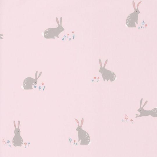 Шпалери Casadeco Happy Dreams HPDM82744111 сірі зайчики на рожевому