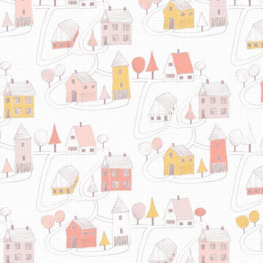 Шпалери Casadeco Happy Dreams HPDM82841230 фіолетові будиночки