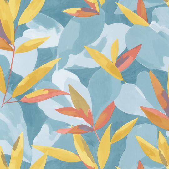 Обои Caselio Imagination IMG102156017 листва сине-желтая
