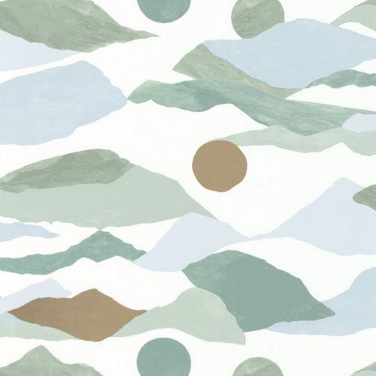 Обои Caselio Imagination IMG102187015 путешествие бело-зеленые
