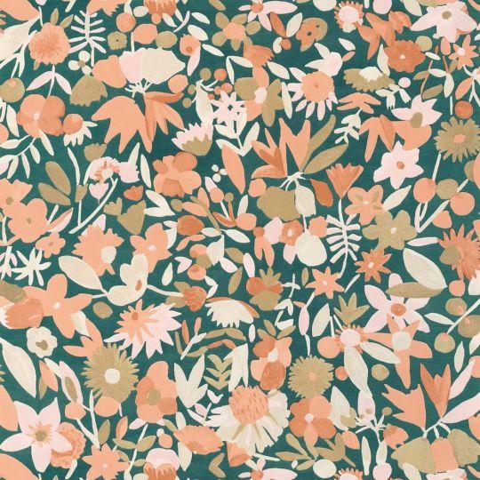 Обои Caselio Imagination IMG102193034 цветочное полотно розовое на синем