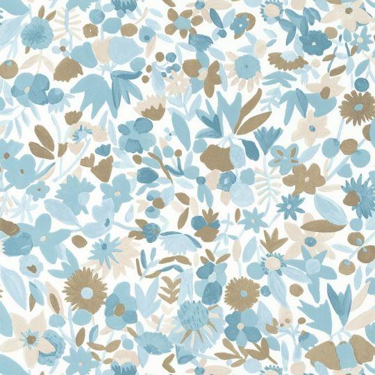 Обои Caselio Imagination IMG102196027 цветочное полотно сине-голубое