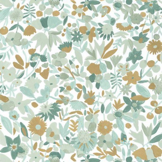 Обои Caselio Imagination IMG102197018 цветочное полотно светло-зеленое