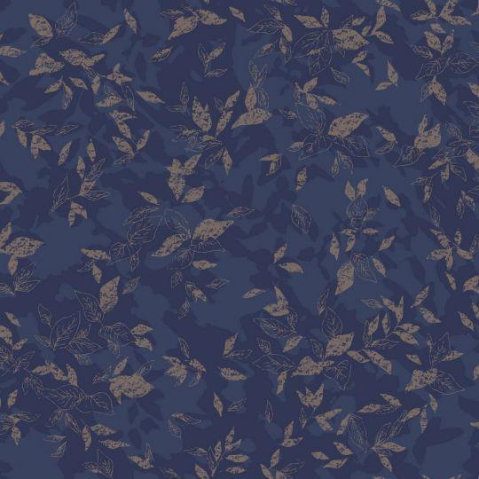 Обои Casadeco Jardins suspendus JDSP85206501 листочки на темно-синем