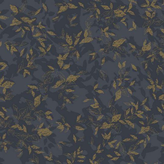 Обои Casadeco Jardins suspendus JDSP85209303 золотые листочки на черном