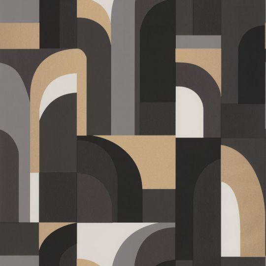 Шпалери Caselio Labyrinth LBY102089021 арки чорне золото