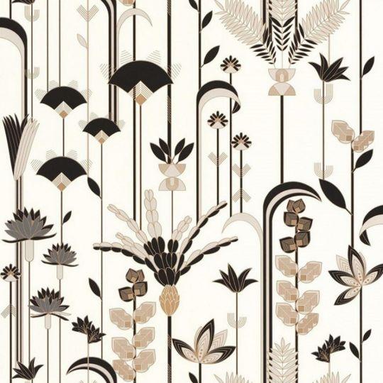 Шпалери Caselio Labyrinth LBY102090020 пальми арт деко чорно-білі