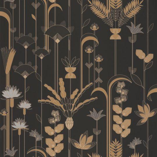 Шпалери Caselio Labyrinth LBY102099020 пальми арт деко чорне золото