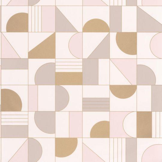 Шпалери Caselio Labyrinth LBY102101022 геометрія біле золото