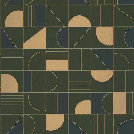 Шпалери Caselio Labyrinth LBY102106179 геометрія темно-зелене золото
