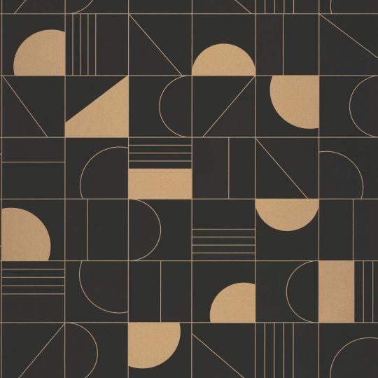 Шпалери Caselio Labyrinth LBY102109026 геометрія чорне золото