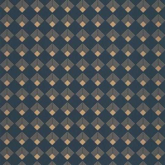 Шпалери Caselio Labyrinth LBY102136026 ромбики золоті на синьому