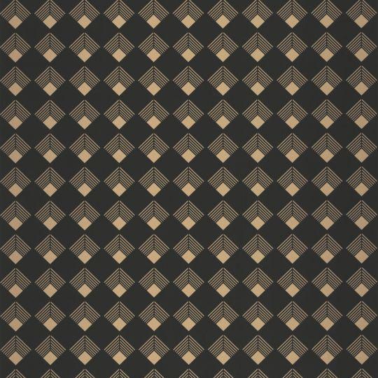 Шпалери Caselio Labyrinth LBY102139023 ромбики чорне золото